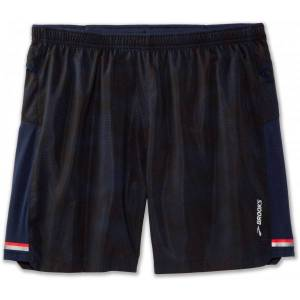 Brooks Sherpa 7'' 2-in-1 Short Men  - Male - Navy - Grootte: Extra Small