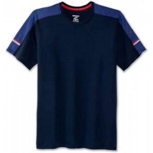 Brooks Distance SS Shirt Men  - Male - Navy - Grootte: Large