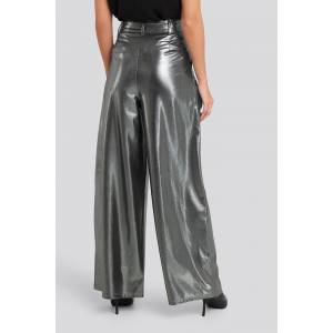 NA-KD Party High Waist Front Pleat Wide Leg Pants - Silver