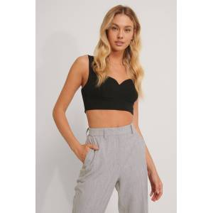 NA-KD Classic Cropped Bustier-Top - Black