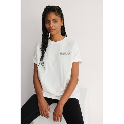 NA-KD Trend Organische Oversized T-Shirt Met Ronde Hals - White