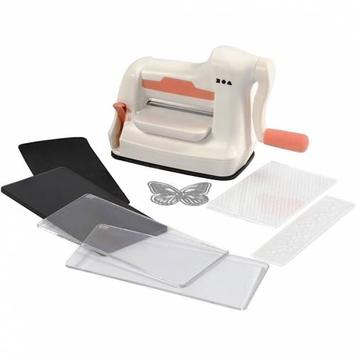 Creotime stans- en embossingmachineset A7 10,5 cm wit/oranje  - Wit - Grootte: One Size