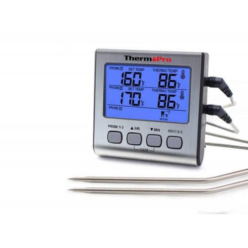 Thermo Pro ThermoPro Dubbele Vleesthermometer Digitaal - BBQ Thermometer - Voedselthermometer incl. Batterij - Voor Grill, Barbecue, Rookoven, Oven & Meer  - GeenKleur - Grootte: One Size
