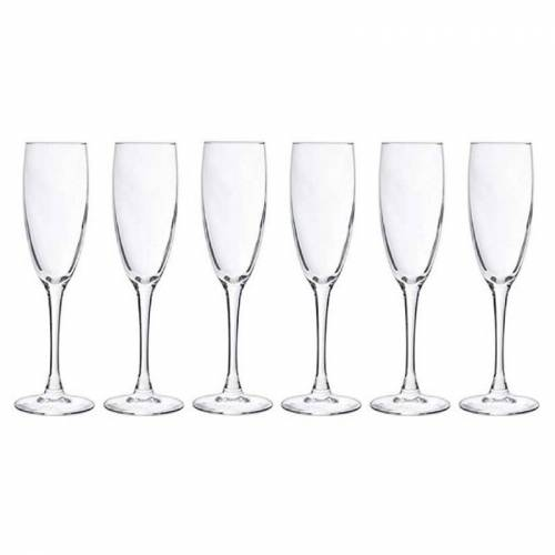 Cosy & Trendy 6x Champagneglazen/flutes 190 ml - 19 cl - Champagne glazen - Champagne drinken - Champagneglazen van glas  - Transparant - Grootte: One Size
