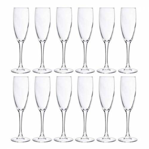 Cosy & Trendy 12x Champagneglazen/flutes 190 ml - 19 cl - Champagne glazen - Champagne drinken - Champagneglazen van glas  - Transparant - Grootte: One Size