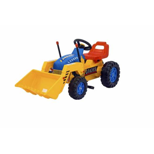 Gs Quality Products Trapvoertuig 110 cm - trapauto shovel / graafmachine / bulldozer / tractor  - blauw - Grootte: One Size