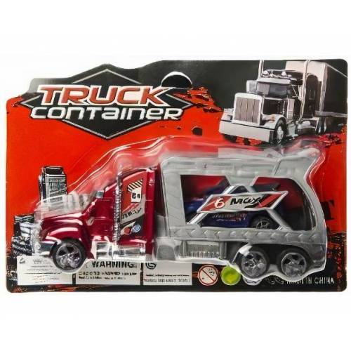 LG-Imports autotransporter Container junior 18 cm rood 2-delig  - Grijs - Grootte: One Size