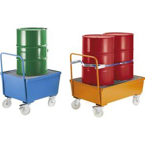 Verrijdbare stalen opvangbak met randprofielen, voor vaten van 200 liter, 2 x staand