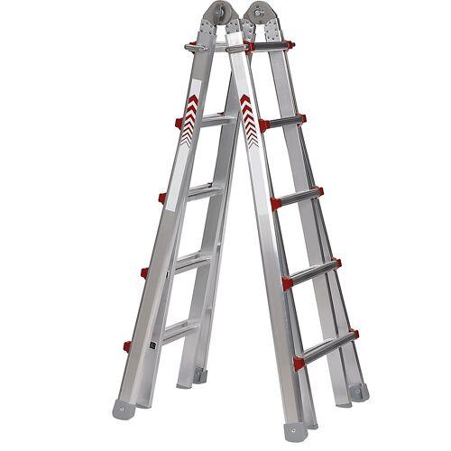 Telescopische multifunctionele ladder, bok-, aanleg-, opsteek- en trapladder in één