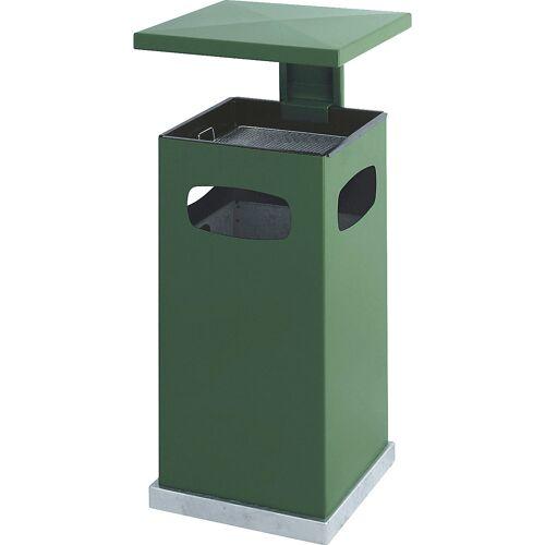 Afvalbak voor buiten, met asbakinzet en beschermkap, inhoud 38 l, b x h x d = 395 x 910 x 395 mm