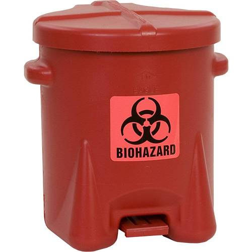 Justrite Veiligheidsafvalbak van PE voor de verwijdering van biogevaarlijke afvalsoorten, BIOHAZARD sticker, inhoud 23 l, met pedaal Justrite