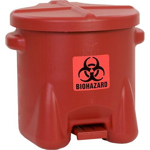 Justrite Veiligheidsafvalbak van PE voor de verwijdering van biogevaarlijke afvalsoorten, BIOHAZARD sticker, inhoud 38 l, met pedaal Justrite