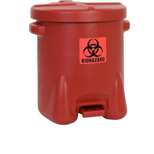 Justrite Veiligheidsafvalbak van PE voor de verwijdering van biogevaarlijke afvalsoorten, BIOHAZARD sticker, inhoud 53 l, met pedaal Justrite