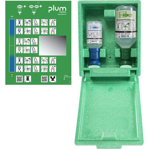 Noodwandbox met oogspoelflessen, 1 x keukenzoutoplossing, 1 x fosfaatbufferoplossing