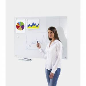 Glazen whiteboard, complete set, glasoppervlak, wit