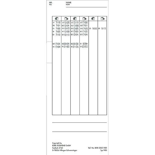 Stempelkaarten, voor K 1100, VE = 500 stuks