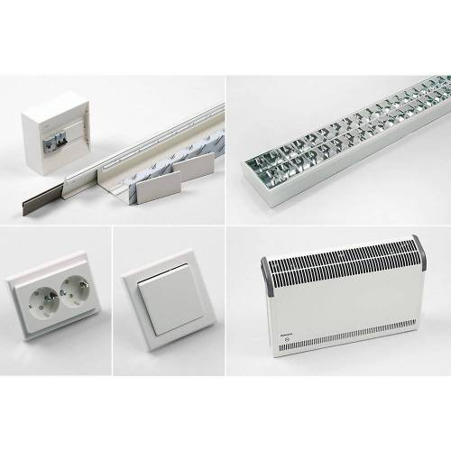 Basispakket voor elektrische installatie incl. elektrische muurverwarming, met computerwerkpleklamp