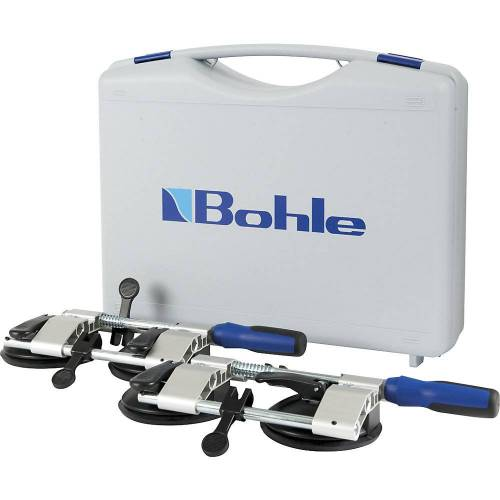 Bohle Plaatspanner VERIBOR® in koffer, VE = 2 stuks, 2-kops aluminium frame met kiephendels voor het vacuüm Bohle
