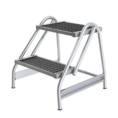 Aluminium werkbordesje, treden van stalen roosters, eenzijdig oploopbaar
