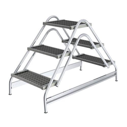 Aluminium werkbordesje, treden van stalen roosters, tweezijdig oploopbaar