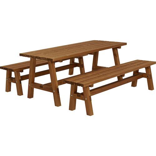 Zitgelegenheid, tafel, 2 banken, grijsbruin