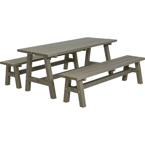Zitgelegenheid, tafel, 2 banken, teakkleuren