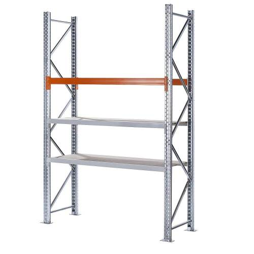 Hybride stelling, hoogte 3000 mm, 1 pallet- en 2 spaanplaatniveaus