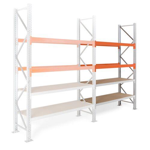 Hybride stelling, hoogte 4500 mm, 2 pallet- en 2 spaanplaatniveaus