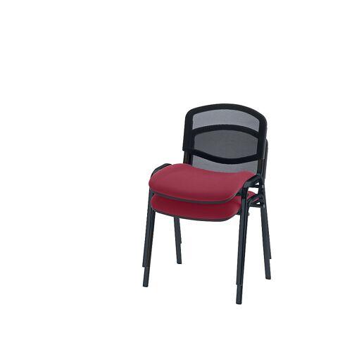 Bezoekersstoel, stapelbaar, netrugleuning, stoelframe zwart