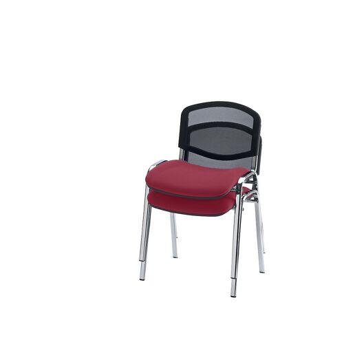 Bezoekersstoel, stapelbaar, netrugleuning, stoelframe verchroomd