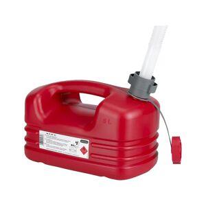 PRESSOL Kunststof brandstof jerrycan, flexibele tuit, inhoud 5 l, VE = 5 stuks PRESSOL