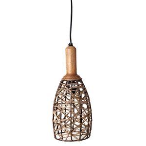 Only Natural Lamp Metaal Met Hout, Leren Banden 16.5x16.5x33cm