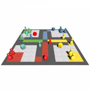 SAPEKOR Levensgroot bordspel op rubber tegels - 5,5 x 5,5 m - 45 mm dik