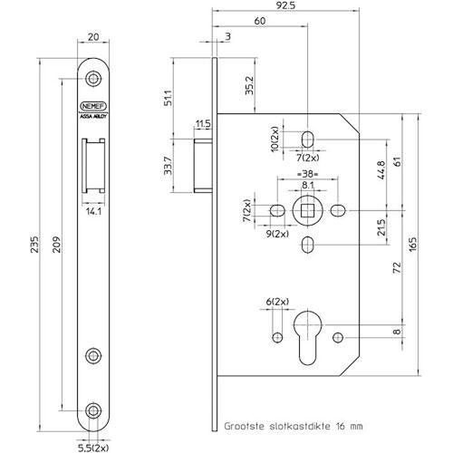 Nemef Cilinder centraalslot type 649/37-kv-60 DIN links