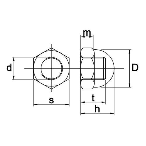 Dopmoer messing/nikkel m3
