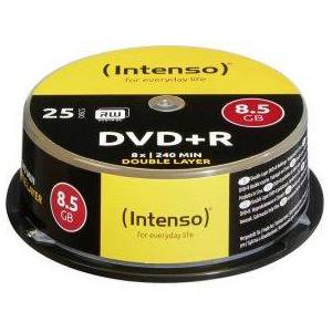 Intenso 1x25 Intenso DVDR 8.5GB 8x Speed. dubbel laags Cakebox