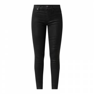 7 For All Mankind Super skinny fit high waist jeans van coated denim  - black