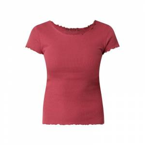 REVIEW T-shirt met ribstructuur  - red
