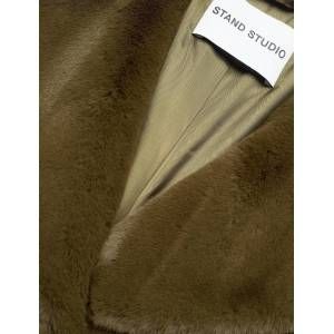 STAND STUDIO Camille Cocoon Coat Outerwear Faux Fur Groen STAND STUDIO