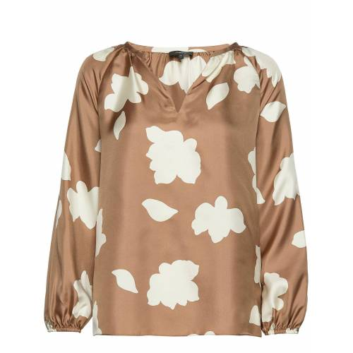 THEORY Open V Gthr Top.Peta Blouse Lange Mouwen Beige THEORY