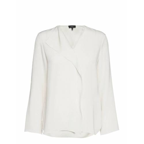 THEORY Overlap Top.Classic Blouse Lange Mouwen Wit THEORY