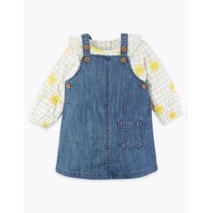Marks & Spencer 2-delige outfit met denim overgooier (0-36 maanden) Blue Denim 2-3  jaar
