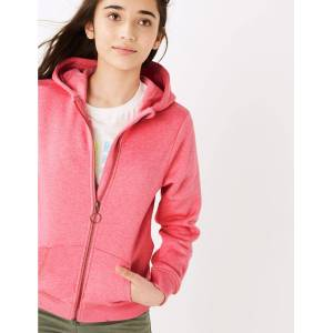 Marks & Spencer Katoenen capuchonvest met ritssluiting (6-16 jaar) Pink 13-14  jaar