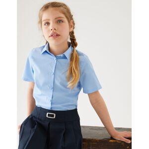 Marks & Spencer Set van 3 makkelijk strijkbare meisjesblouses met slanke pasvorm Blue 6-7  jaar