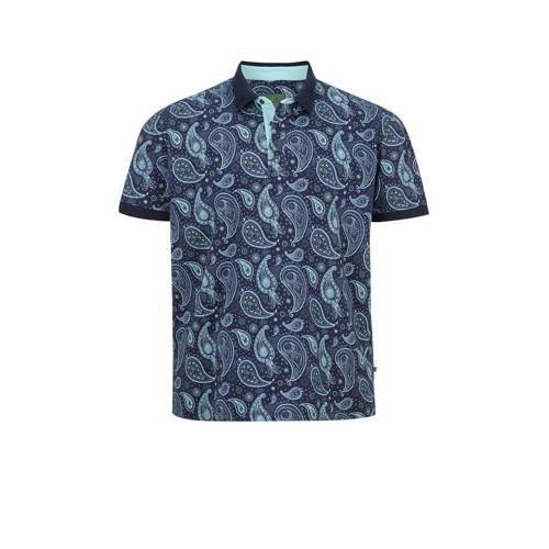 Charles Colby loose fit polo EARL SUITBERT Plus Size met paisleyprint blauw  - Blauw