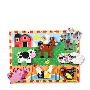 Melissa & Doug Chunky boerderij dieren houten vormenpuzzel 7 stukjes  - Size: 000