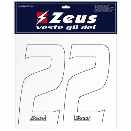 Zeus cijfers - Set 1-22 om op te strijken op 10 cm wit  - wit - Size: One Size