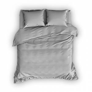 Satin d'Or Dekbedovertrek Streep Silver - 260x200/220 cm | Lits-jumeaux XL