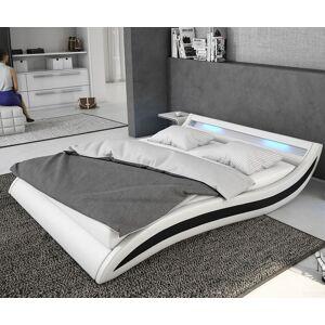 DELIFE Gestoffeerd-bed Adonia 140x200 cm wit zwart met LED
