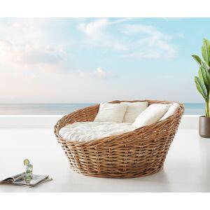 DELIFE Overdag-bed Nilam 145x73cm rotan natuur kussen lounge